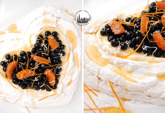 pavlova con mirtilli e arancia